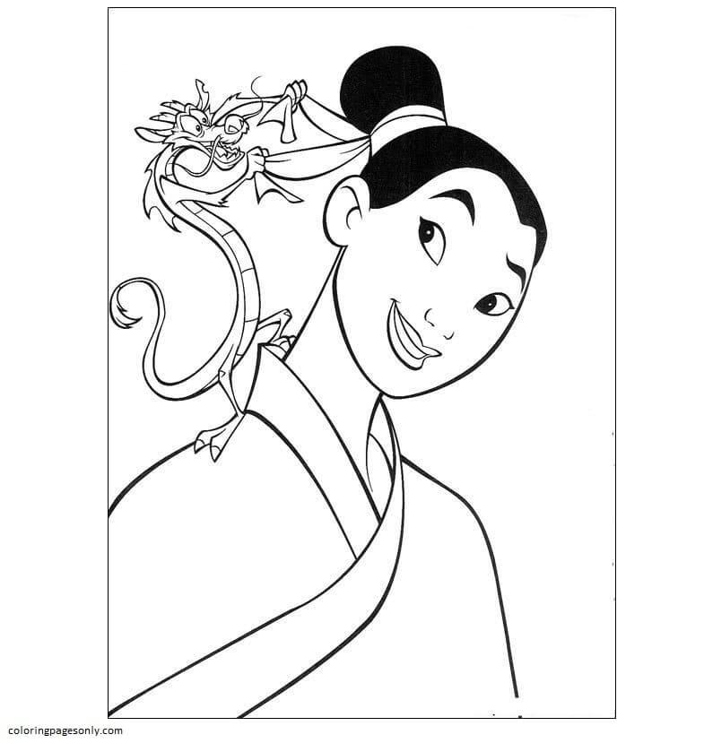 Mushu Helps Mulan Coloring Page