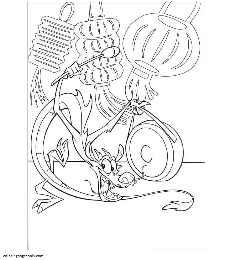 Mushu Plays The Music Coloring Page