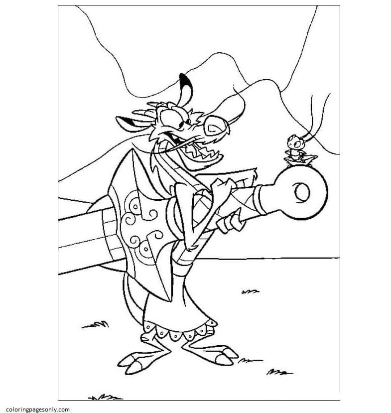 Mushu With Mulan Sword Coloring Page