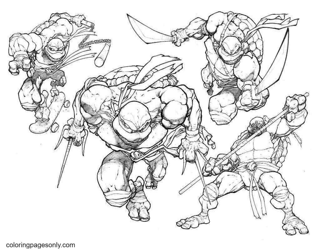 Mutant Ninja Turtles 4 Coloring Page