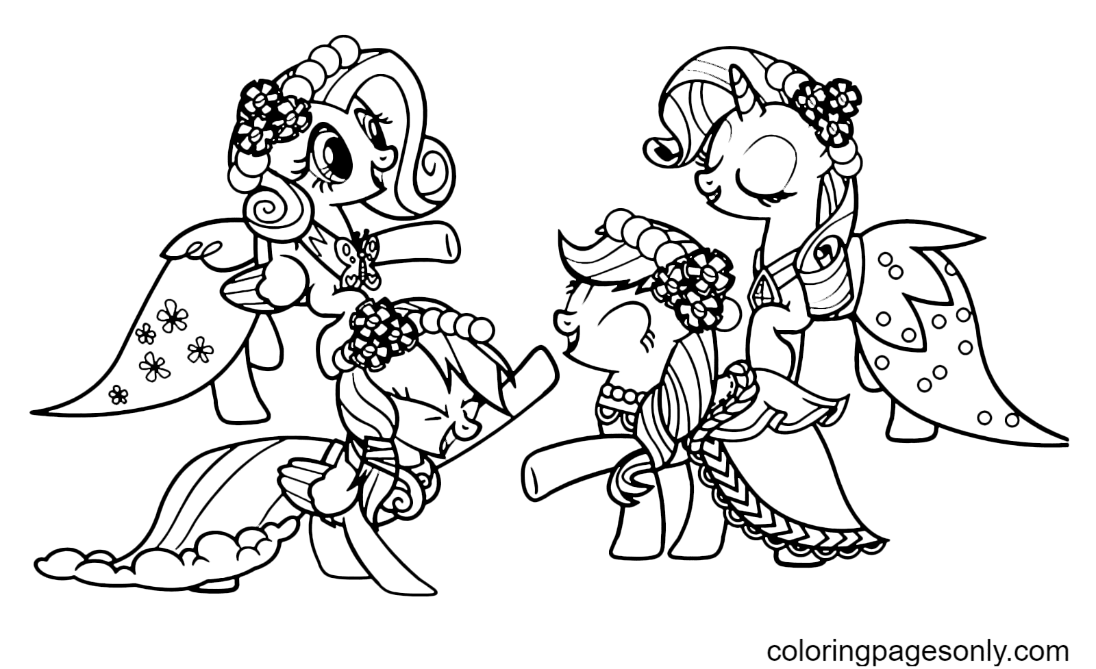 My Little Pony – Fluttershy – Applejack – Rainbow Dash – Rarity Coloring Page