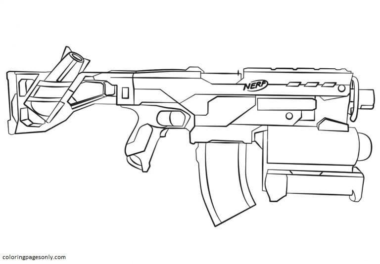 Nerf Gun Sketch Coloring Page