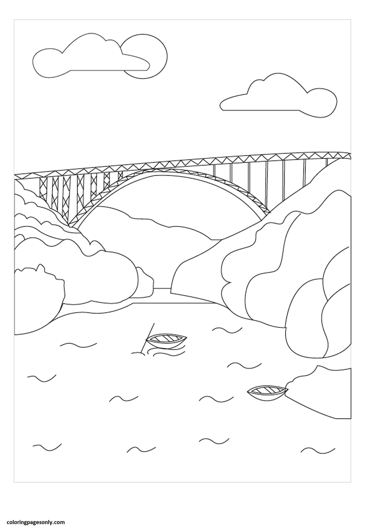 New River Gorge Coloring Page