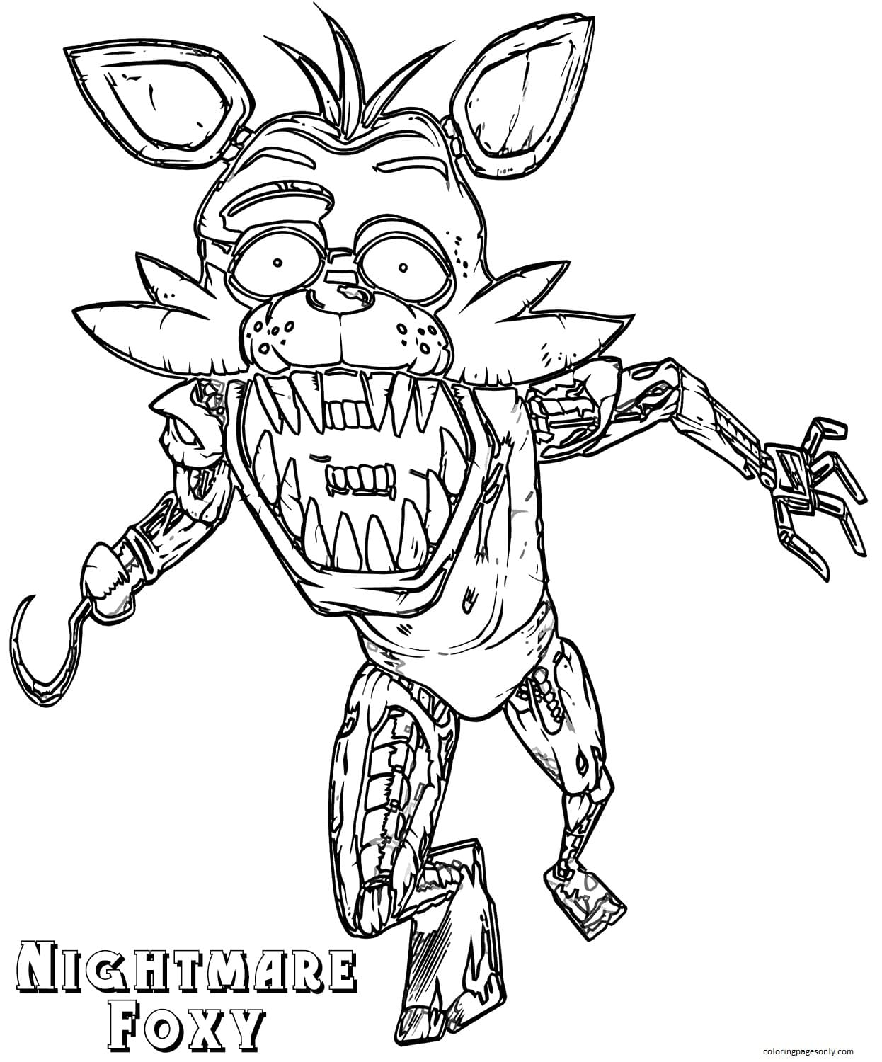 Nightmare Foxy Coloring Page