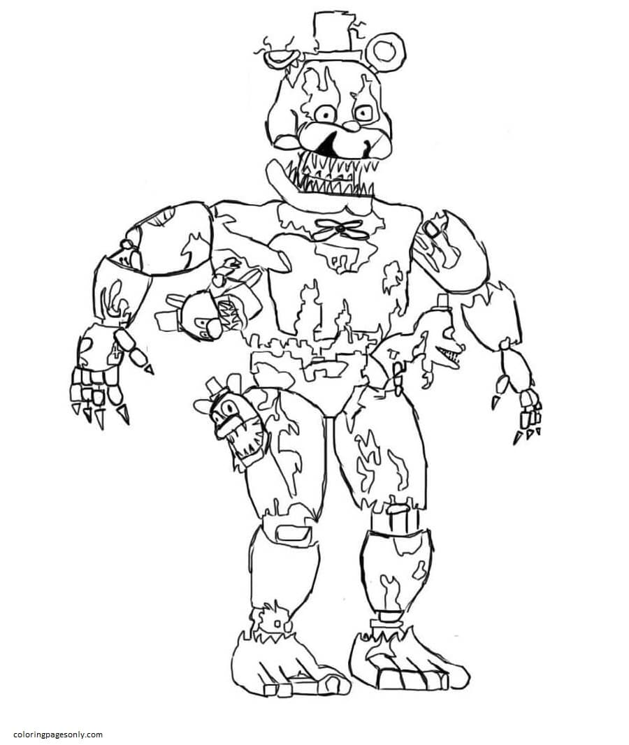 Nightmare Freddy FNAF Coloring Page