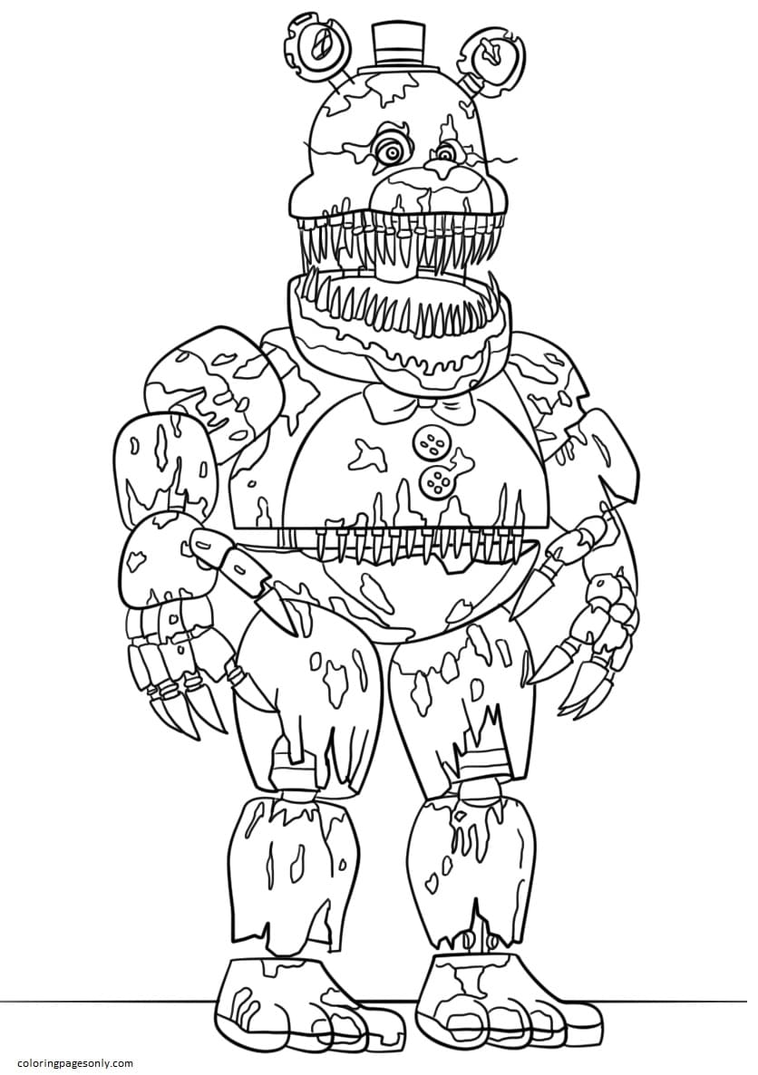 Nightmare Freddy Coloring Page