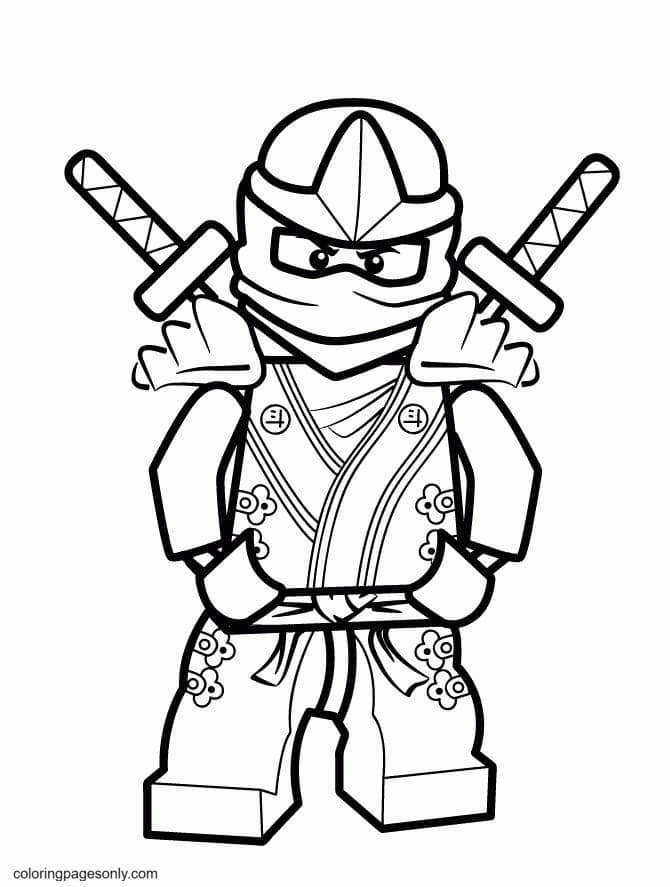 Ninja Carry Sword On His Back Coloring Page