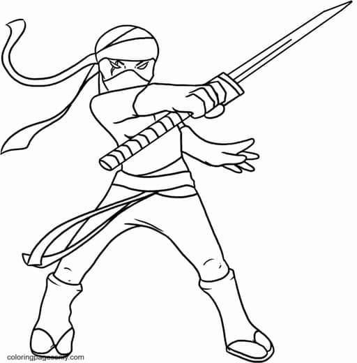 Ninja Holding Shikomizue Coloring Page