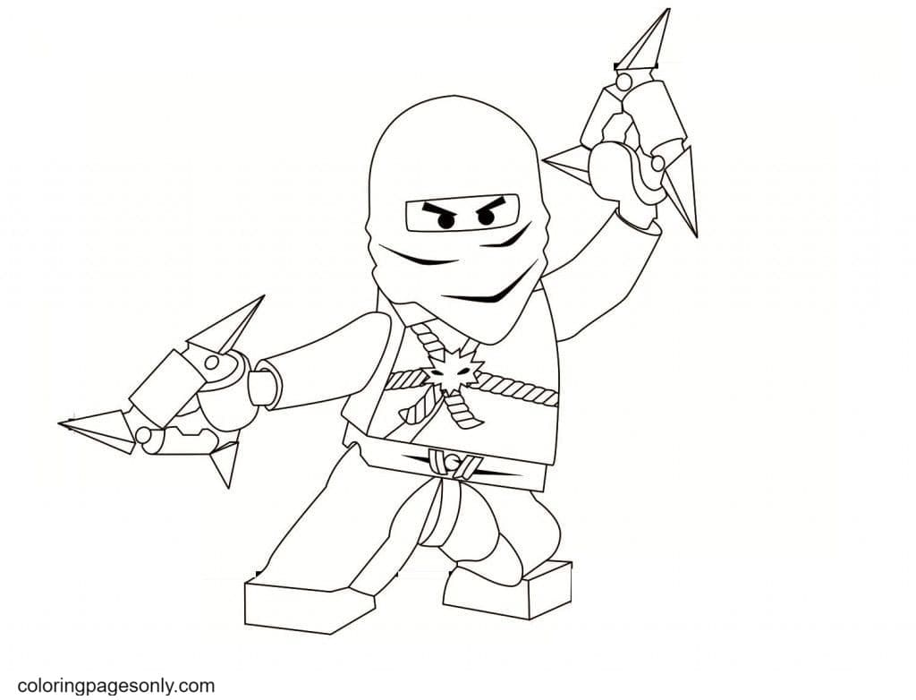 Ninja Holding Weapons to Fight Coloring Page