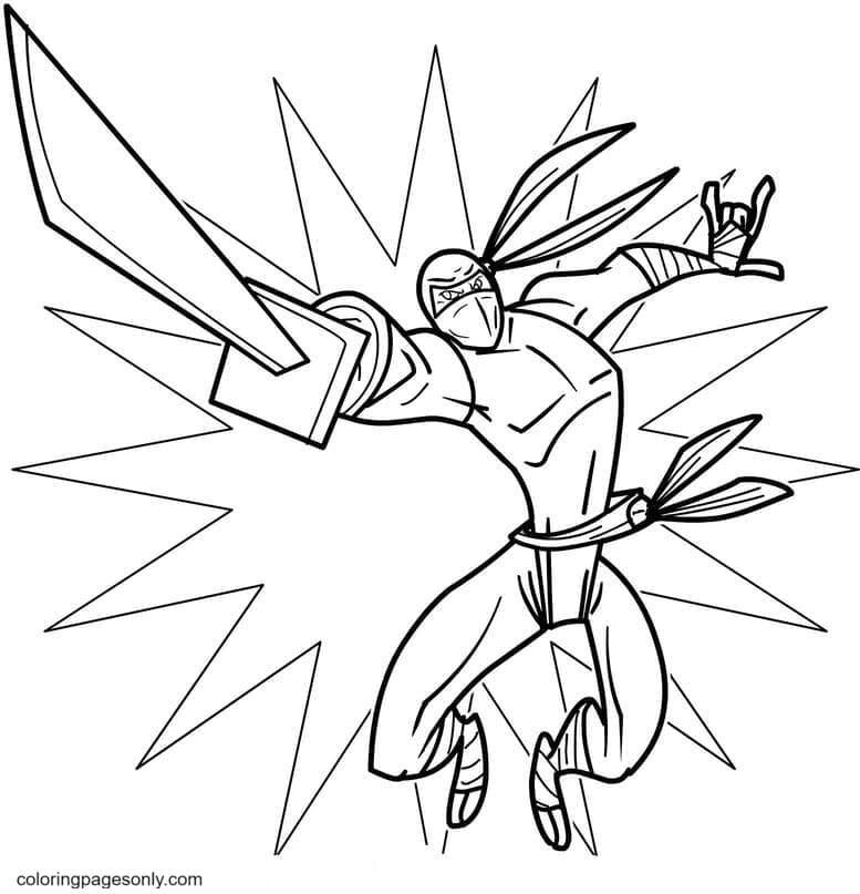 Ninja Jump Up Attack Coloring Page