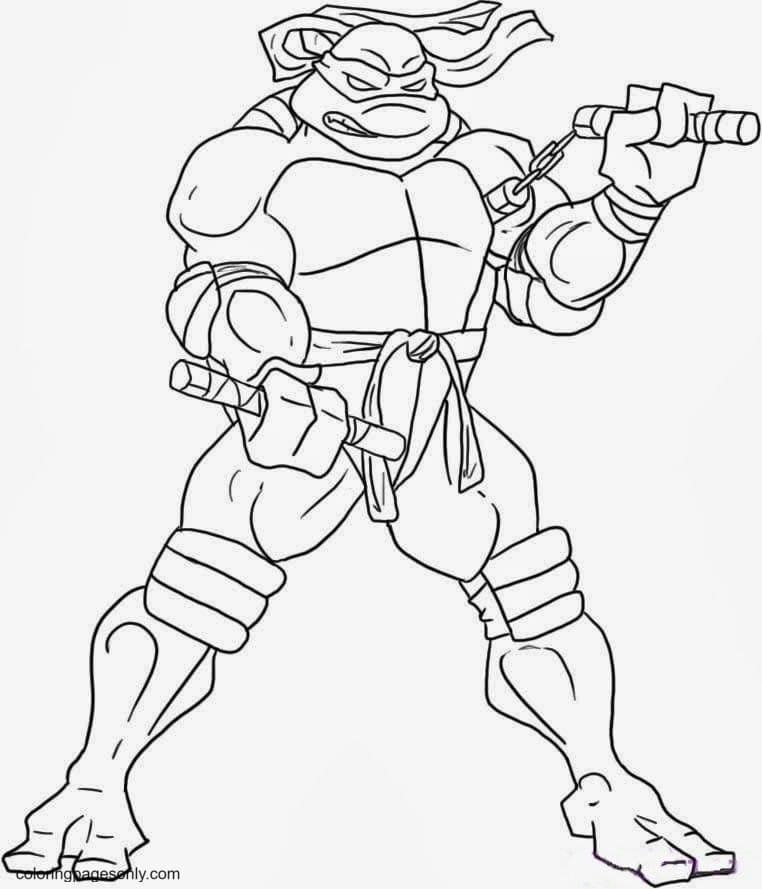 Ninja Turtles using Manriki Coloring Page