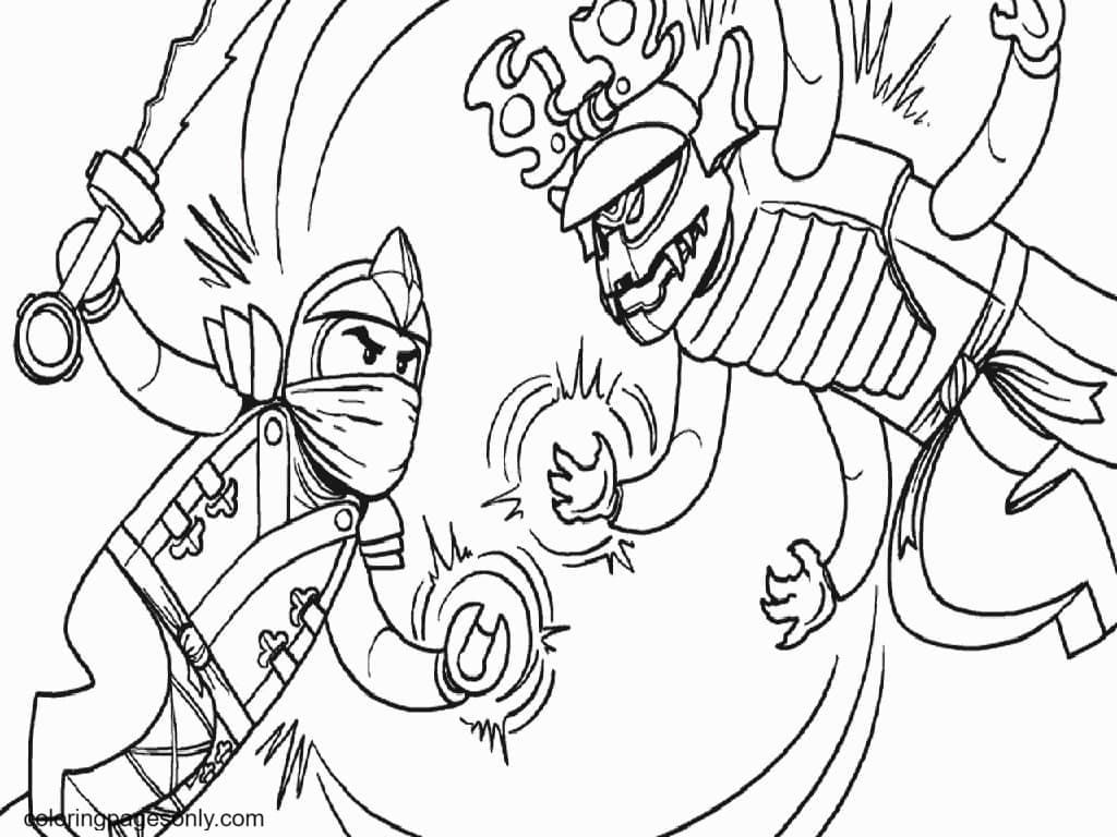 Ninja Warrior Attack Coloring Page