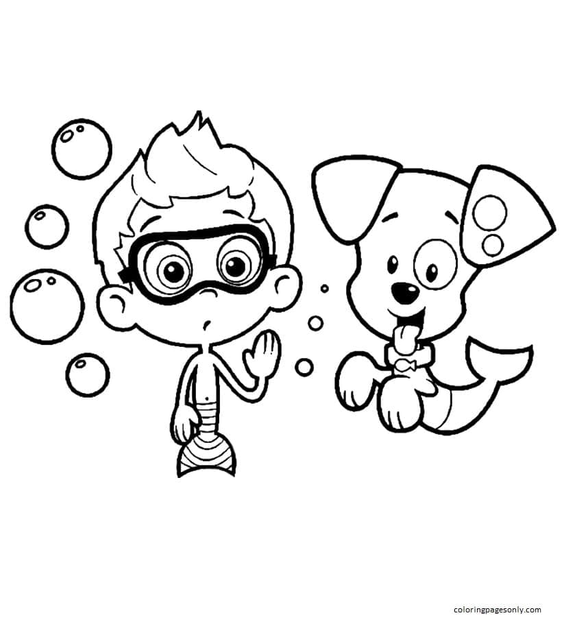 Nonny with Puppy Coloring Page