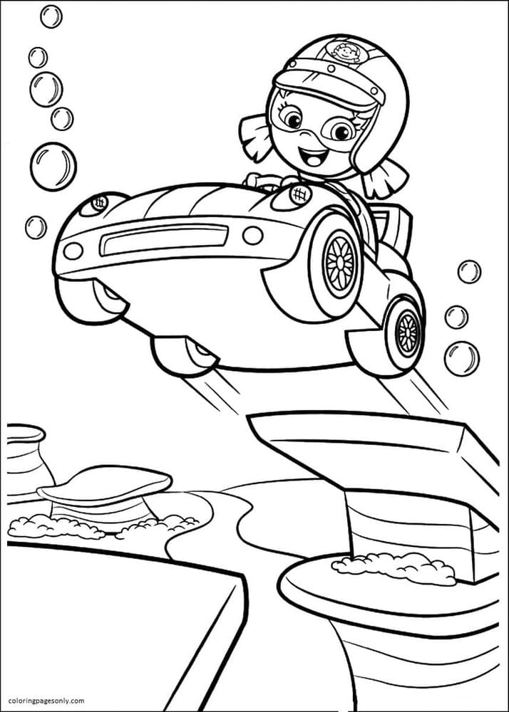 Oona with Car Coloring Page