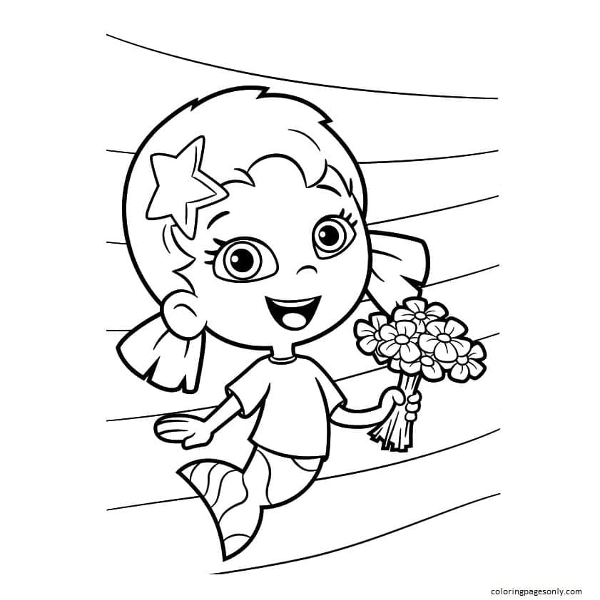 Oona with Flowers in Hand Coloring Page