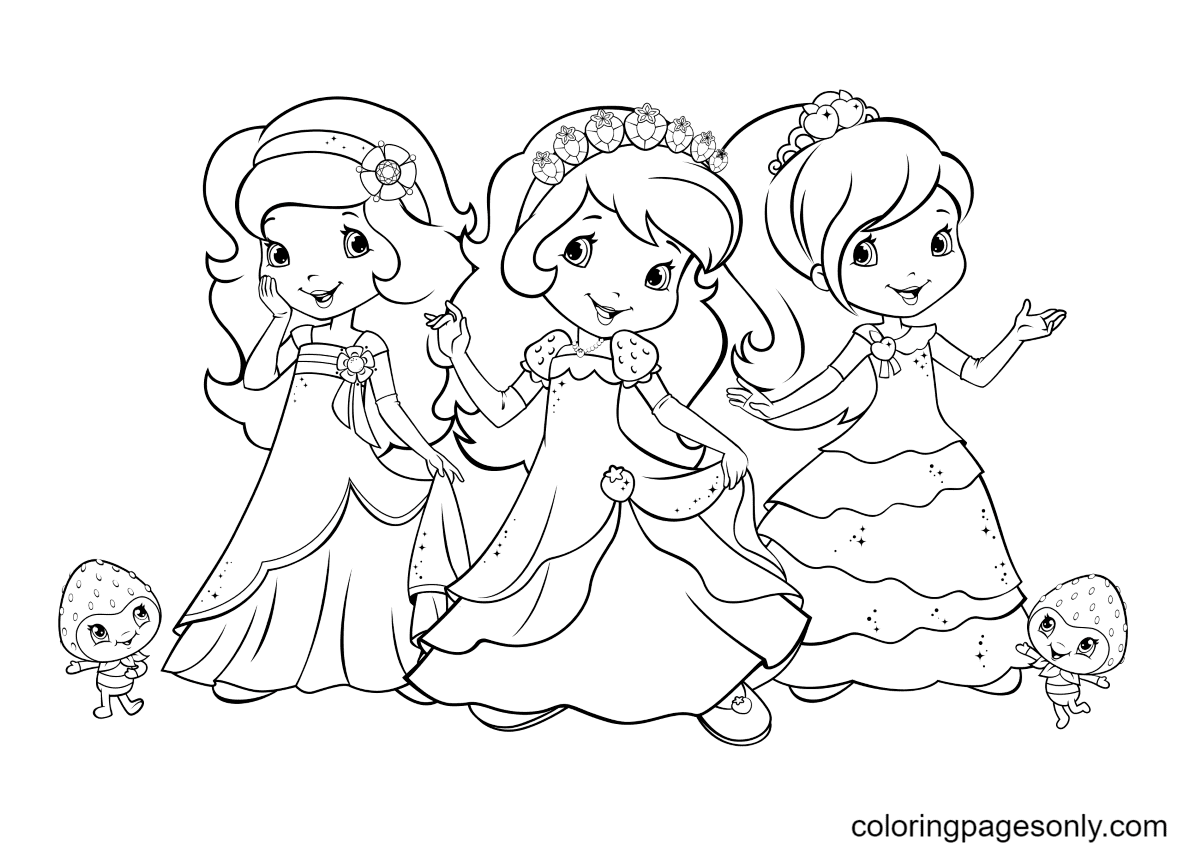 Orange Blossom, Strawberry Shortcake and Plum Pudding Coloring Page