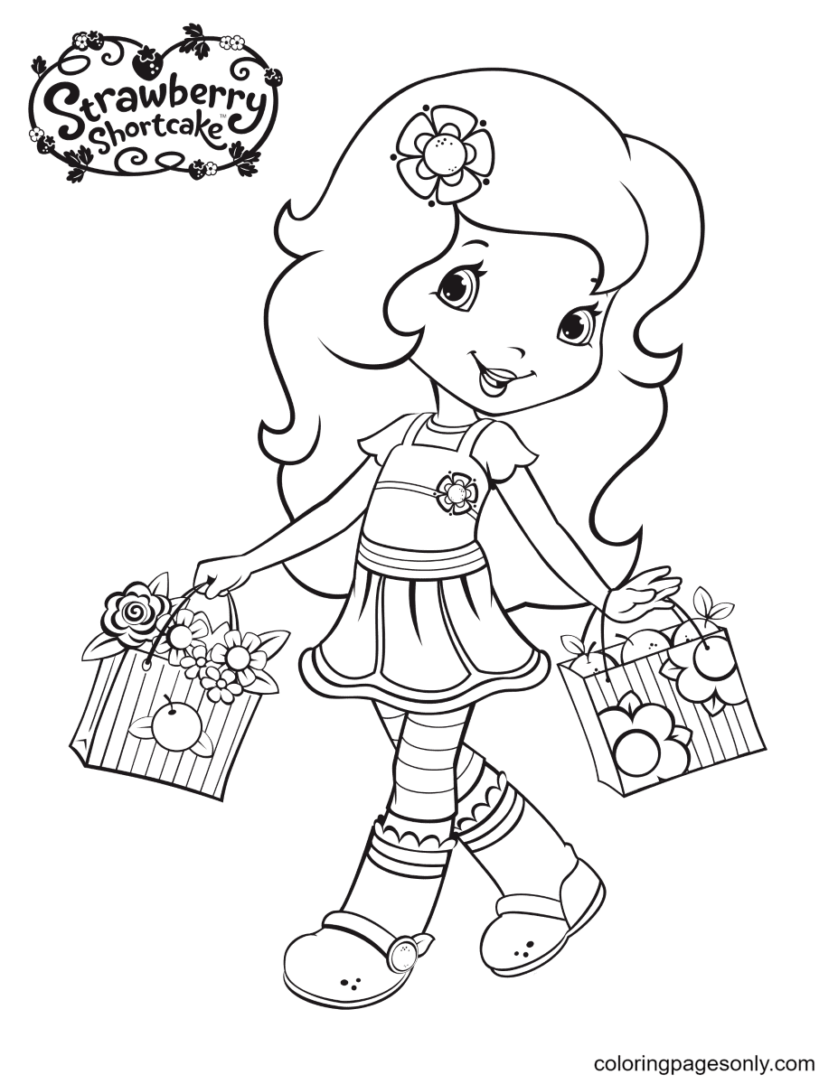 Orange Blossom holding two baskets of flowers and fruits Coloring Page