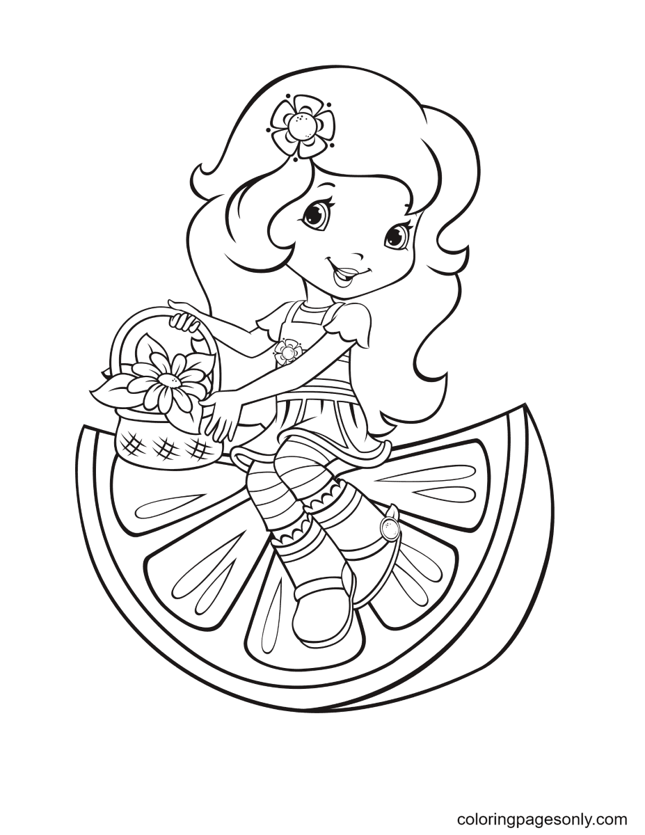 Orange Blossom sitting on a piece of orange Coloring Page