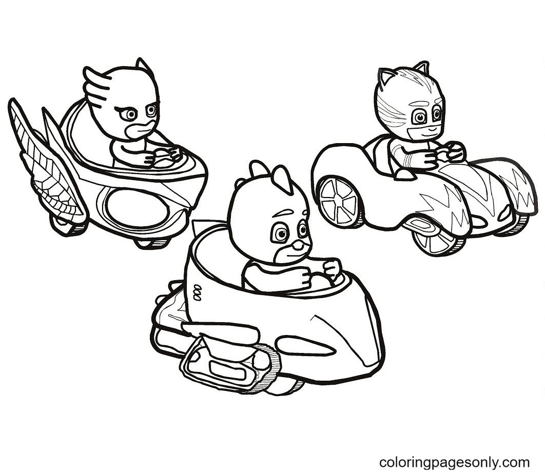 PJ Masks Car Racing Coloring Page