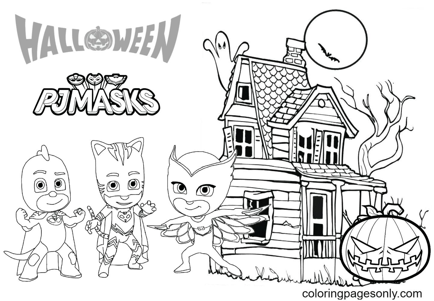 PJ Masks Halloween Coloring Page