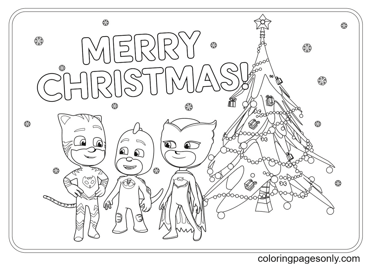 PJ Masks Merry Christmas Coloring Page