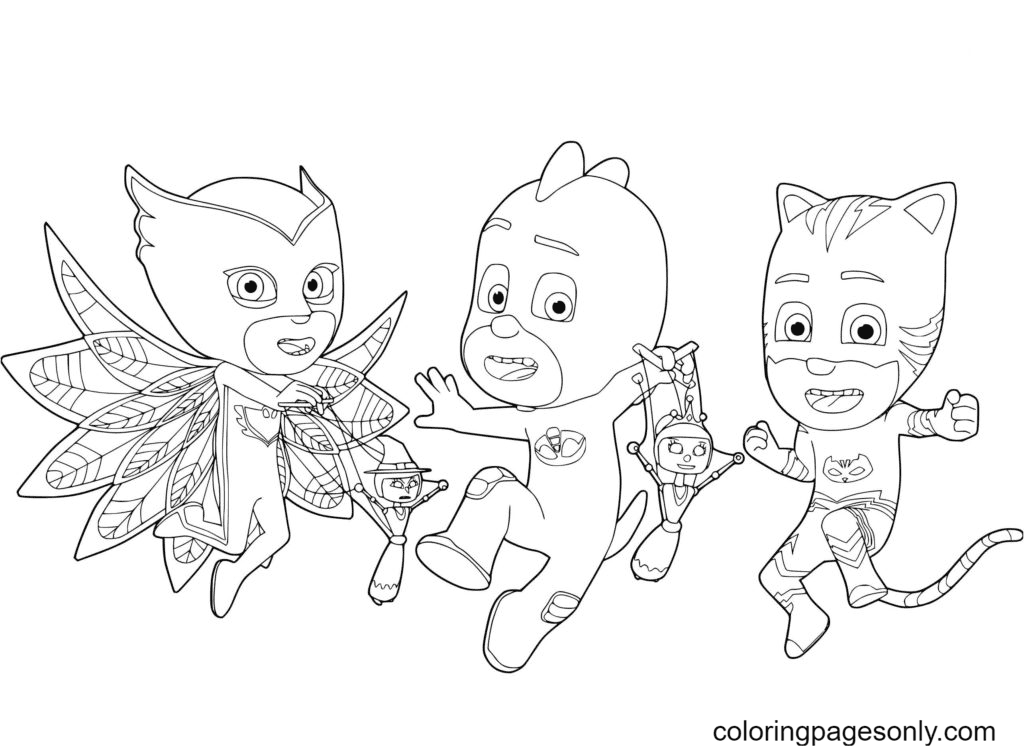 PJ Masks fight criminals and restore justice Coloring Page