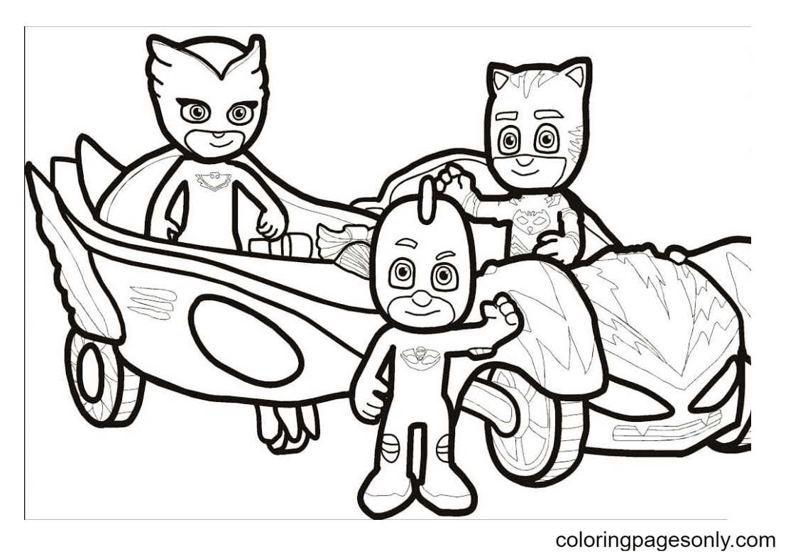 PJ Masks in their cars Coloring Page