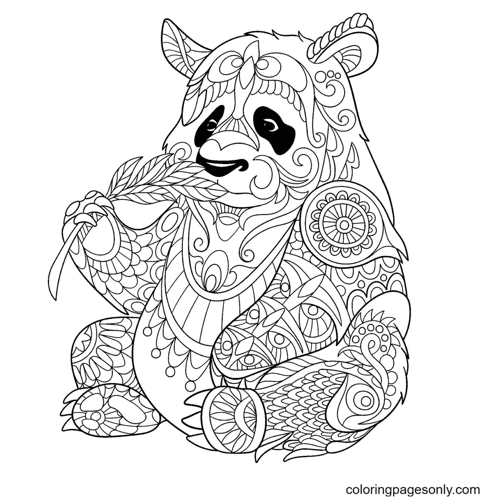 Panda Hard Coloring Page
