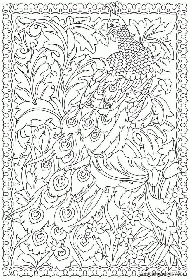 Peacock For Adults Coloring Page