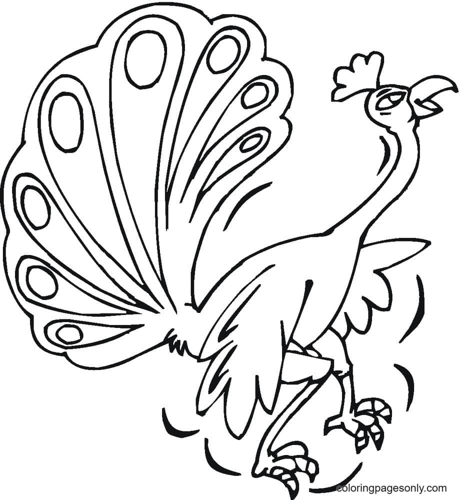 Peacock Funny Coloring Page