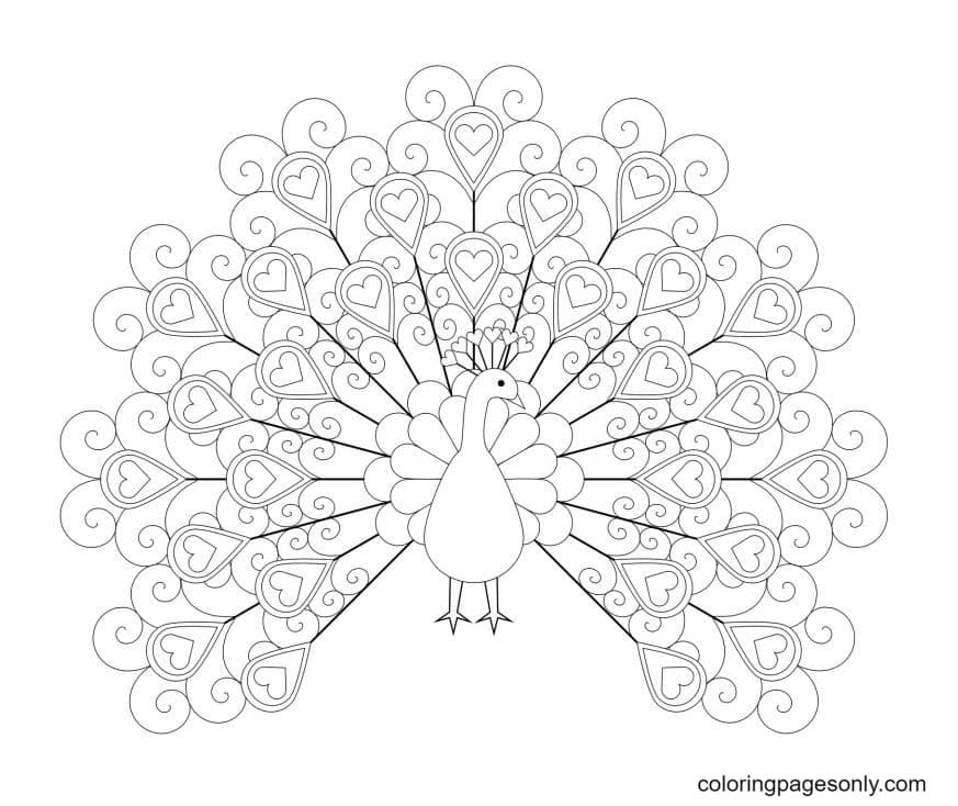 Peacock With Hearts Coloring Page