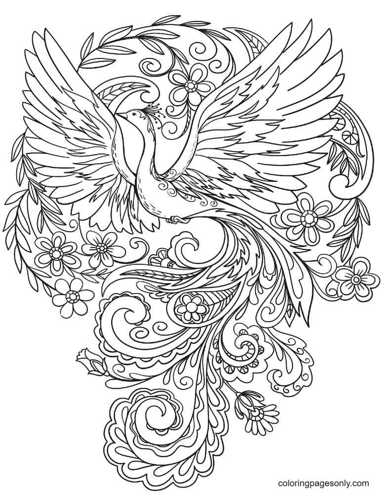 Peacock in Flowers Coloring Page
