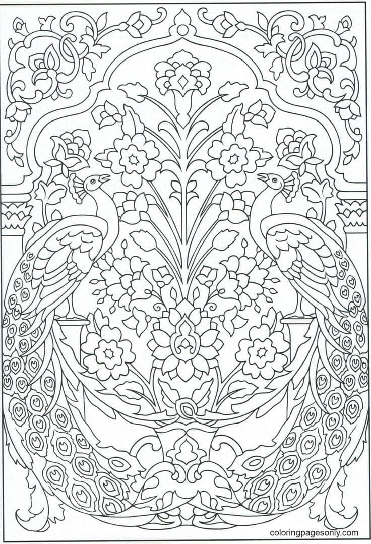 Peacocks Art 0 Coloring Page