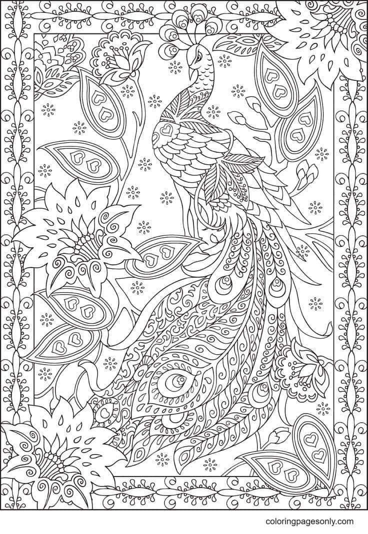 Peacocks with Flowers Coloring Page
