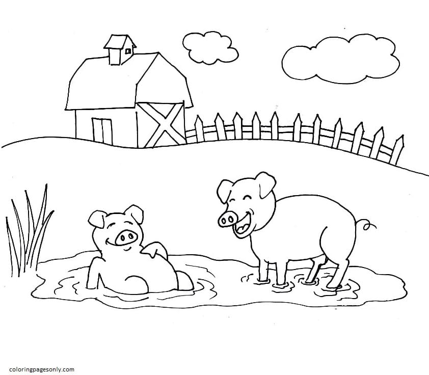 Pigs Farm Coloring Page