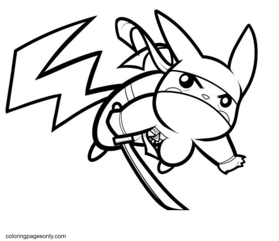 Pikachu Ninja Coloring Page