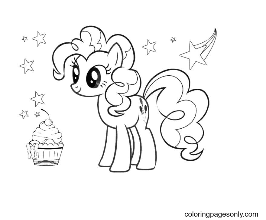 Pinkie Pie with Cup cake Coloring Page