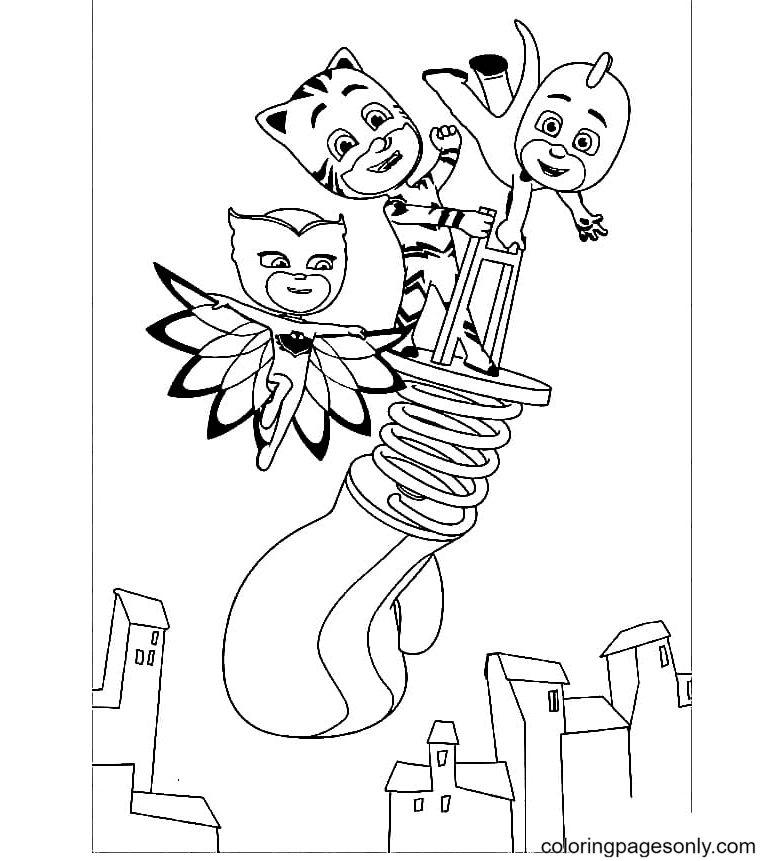 Pj Masks In flight Coloring Page