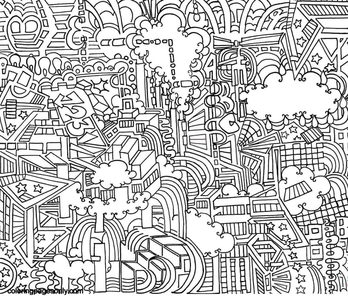 Plane City Doodle Coloring Page