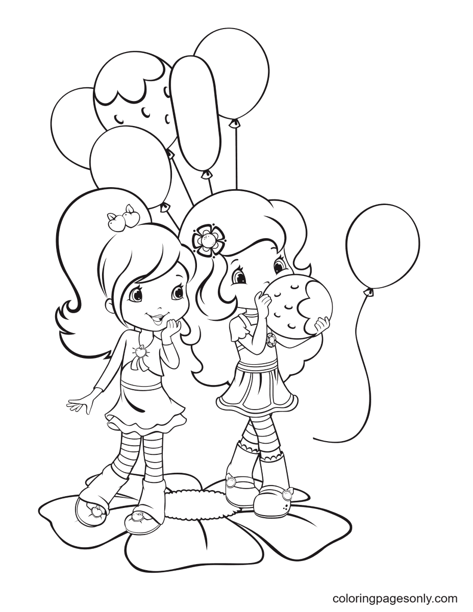 Plum Pudding with Orange Blossom and balloons Coloring Page