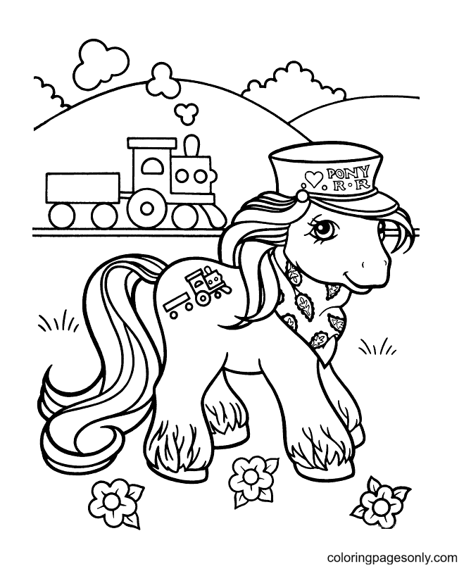 Pony At Train Station Coloring Page