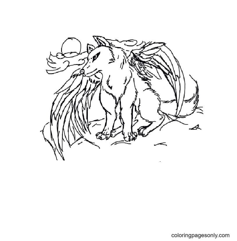 Poor winged wolf Coloring Page