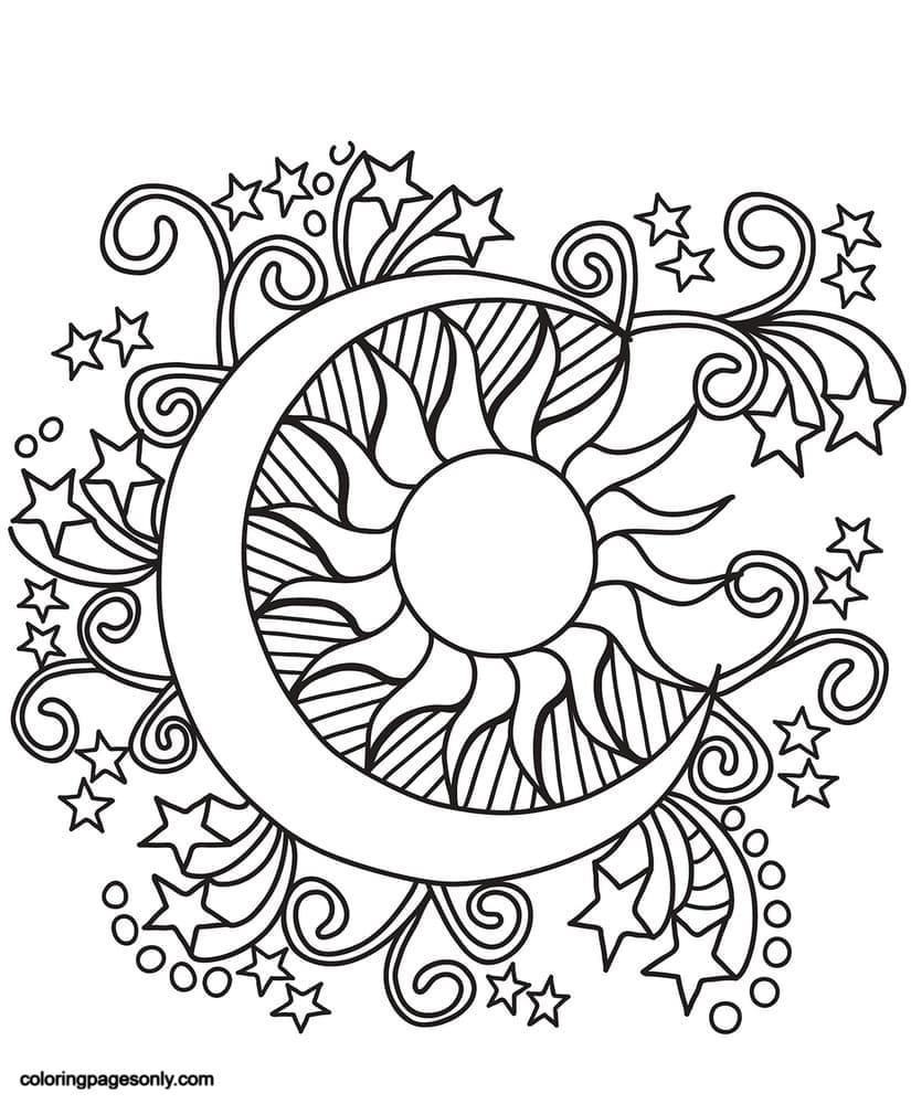 Pop Art Sun, Moon, and Stars Coloring Page