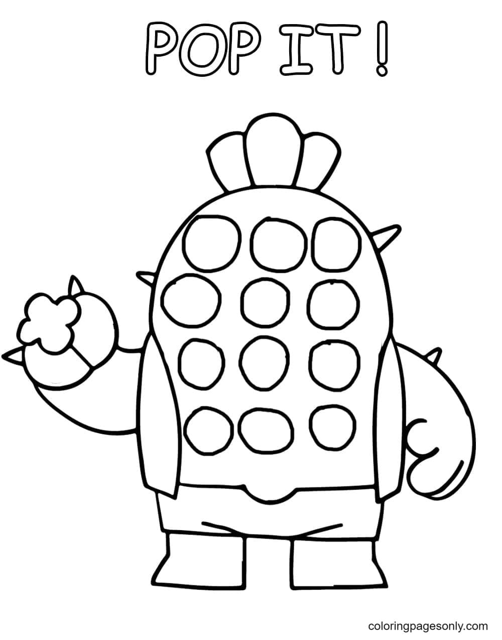 Pop It Spike Brawl Stars Coloring Page