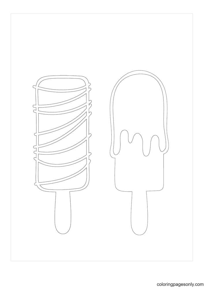 Popsicle With Out Stick Coloring Page
