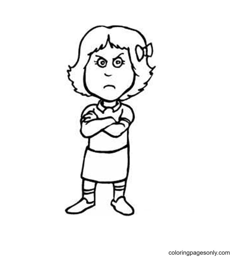 Pouting Girl Coloring Page