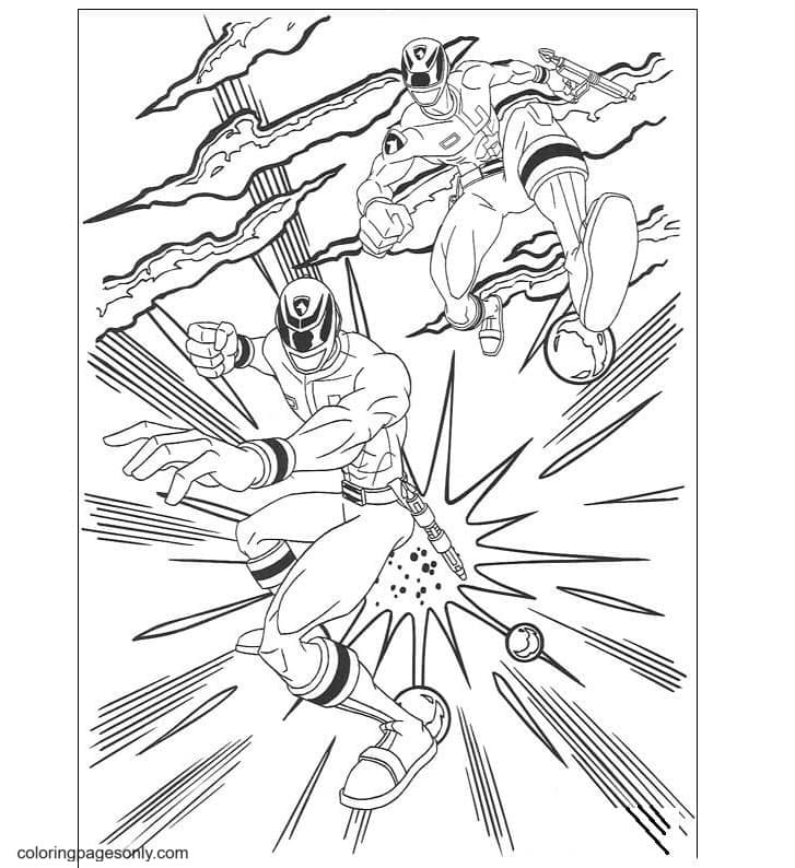 Power Rangers attack Coloring Page