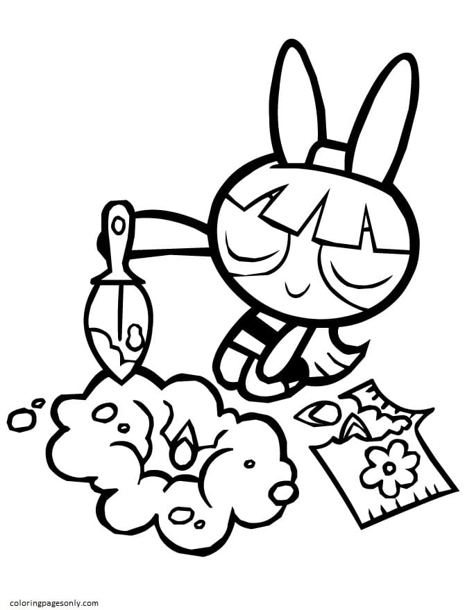 Powerpuff Girls Blossom Planting Flowers Coloring Page