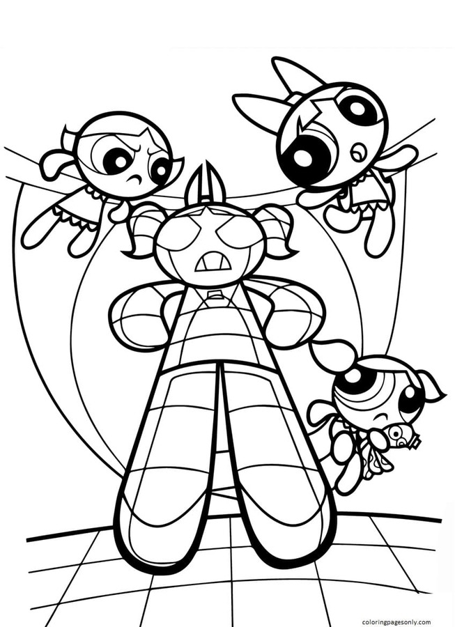 Powerpuff Girls vs Monster Coloring Page