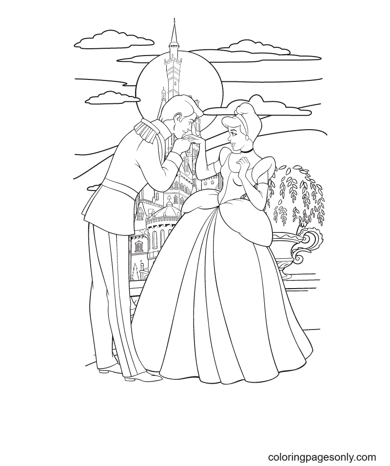 Pretty Cinderella and Prince Charming Coloring Page